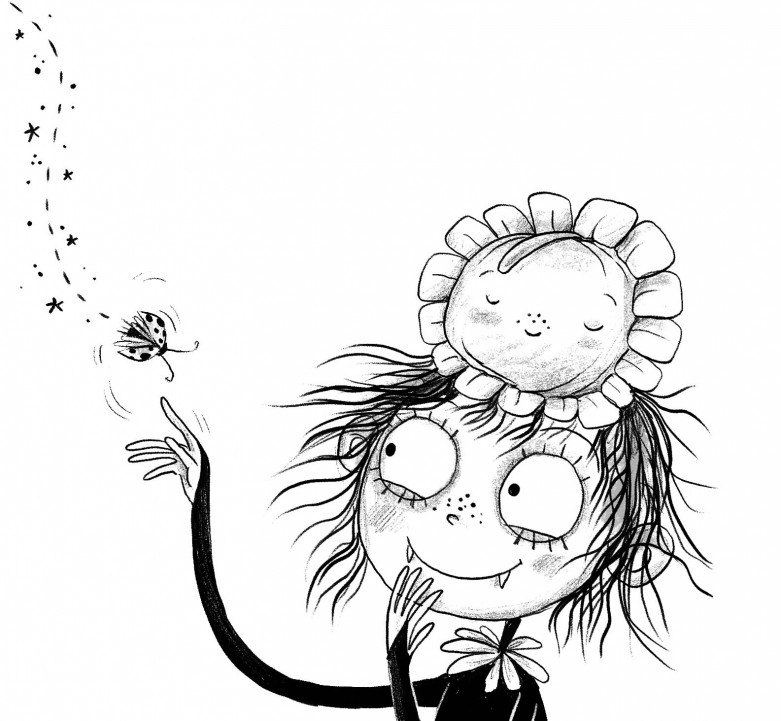 Illustration of the central character Amelia from the book Amelia Fang